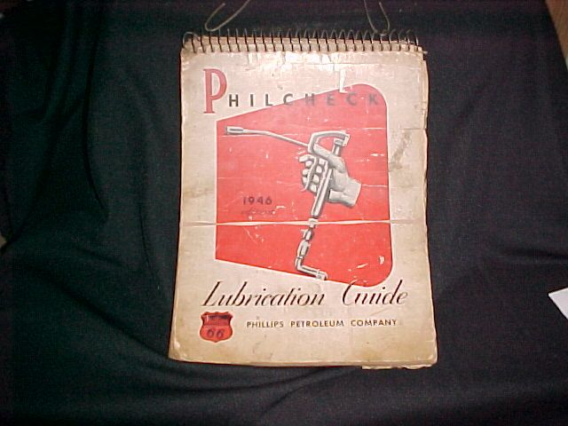1946 PHILLIPS LUBE CHART SPIRAL BOUND LUBE CHART