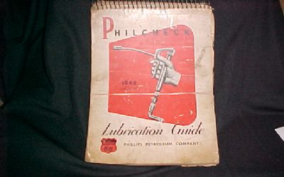 1946 Phillips Lube Chart Spiral Bound Lube Chart Great Collector Item