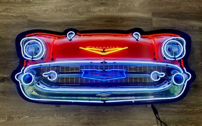 Chevrolet Bel Air Grill Neon Sign IN Shaped Steel Can