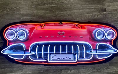 Chevrolet Corvette Grill Neon Sign IN Shaped Steel Can